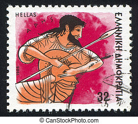 Ares - GREECE - CIRCA 1986: stamp printed by Greece, shows...