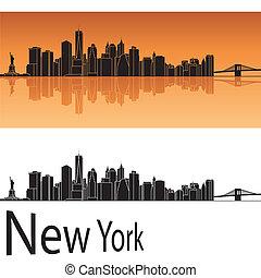 New York skyline in orange background in editable vector...