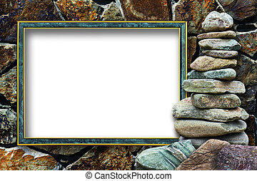 Frame for a photo with a cairn on a stone background -...