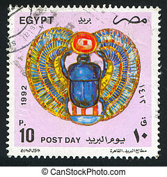 Scarab - EGYPT - CIRCA 1992: stamp printed by Egypt, shows...