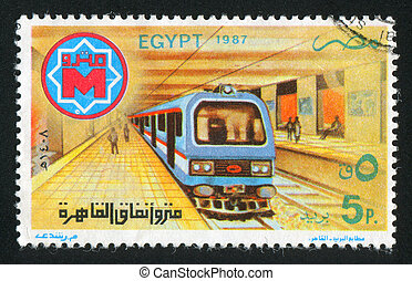 Subway station - EGYPT - CIRCA 1987: stamp printed by Egypt,...