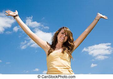 Teen Girl Joyful
