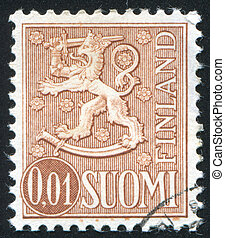 Coat of arms of Finland - FINLAND - CIRCA 1954: stamp...