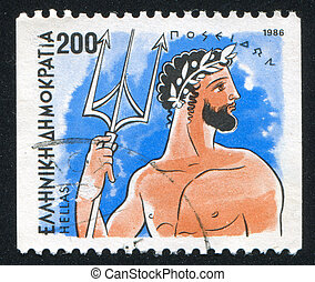 Poseidon - GREECE - CIRCA 1986: stamp printed by Greece,...