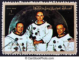 Postage stamp Ajman 1973 Crew of Apollo 11 - AJMAN - CIRCA...