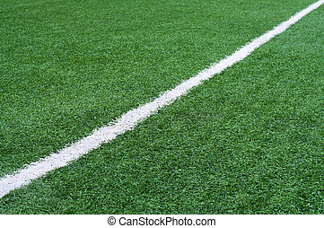 Football field with white stripe. - Football field with...