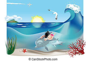 Swimming child with dolphins 2 - Swimming child with...