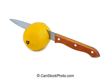 Knife cuts lemon - Knife cuts lemon fruit Objects isolated...
