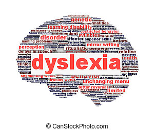 Dyslexia disorder symbol concept isolated on white...