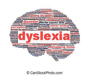 Dislexia, desorden, símbolo, concepto, aislado