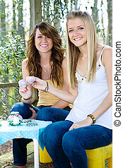 Teen Tea Party - Beautiful teen sisters remembering...