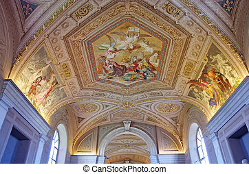 Vatican Museum - Gallery ceiling in Vatican Museum, Vatican...