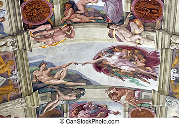 Genesis frescoes - Michelangelo frescoes in Sistine Chapel,...