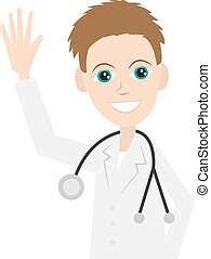 Doctor Waving  - Isolated doctor with stethoscope