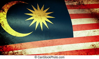 Malaysia Flag Waving, grunge look