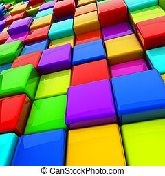 Multicolor 3D cubes abstract background.