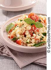 tagine, Couscous, ensalada, vegetales