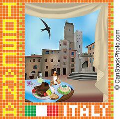 Tuscan Mosaic 2 - Tuscan mosaic with view of San Gimignano,...