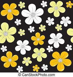 Floral background over black background, seamless pattern