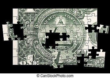 Dollar Bill Pyramid - Jigsaw puzzle made from the pyramid...