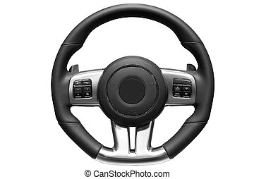 Sports car steering wheel. - Close up image of modern sports...