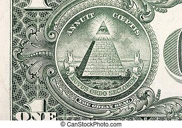 dólar, conta, piramide