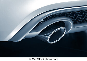 Exhaust Pipe - Toned image of new luxury car exhaust