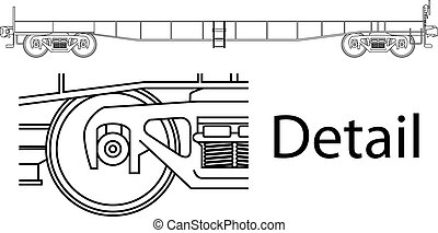 Flat car - Vector high detailed flat car railway wagon -...