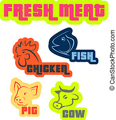 Fresh meat - Isolated vector icons of various meat type -...