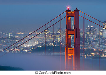 Golden Gate Bridge - Image of Golden Gate Bridge with San...