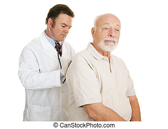 Senior Medical - Serious Exam - Doctor examining senior man...