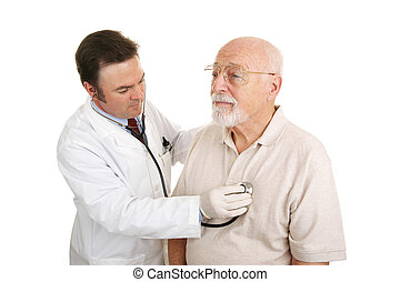 Senior Medical - Stethoscope - Doctor listening to a senior...