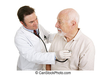Will I be Okay? - Senior man being examined by a doctor....