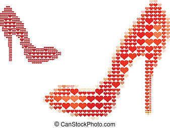 shoe love, vector - shoe with red heart pattern, vector...