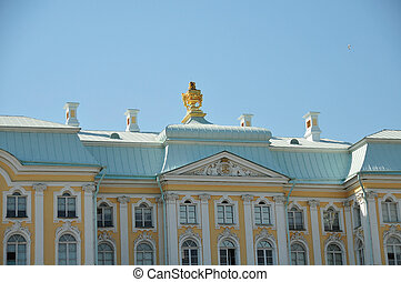 Peterhof Palace - The rooftop of the Peterhof Palace in St...