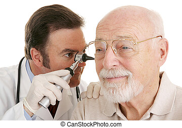 Senior Medical - Otoscope Closeup - Doctor using otoscope to...