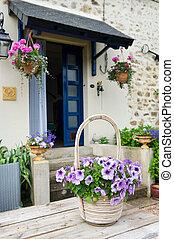 French garden - Flower pot Pink Petunias in French garden