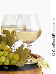 Glass wine on a white background - White wine in fine glass...