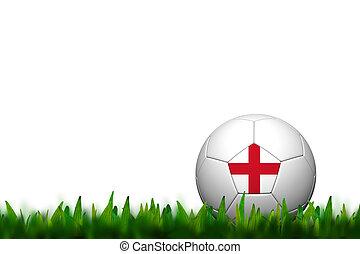 3D Soccer balll England  Flag Patter on green grass over white background