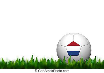 3D Soccer balll Netherlands Flag Patter on green grass over white background