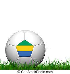 3D Soccer balll  Gabon Flag Patter on green grass over white background