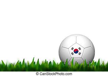 3D Soccer balll Korea Flag Patter on green grass over white background