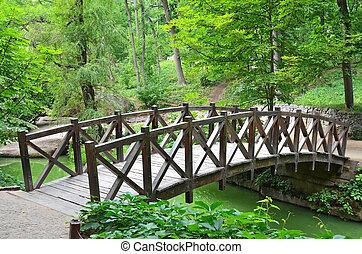 Old woooden park bridge, Sofiyevka, Uman, Ukraine