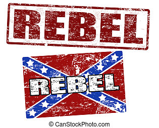 Confederate flag and rebel stamp - Grunge rubber stamps with...
