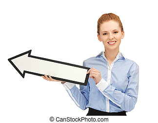 woman with direction arrow sign - picture of happy woman...