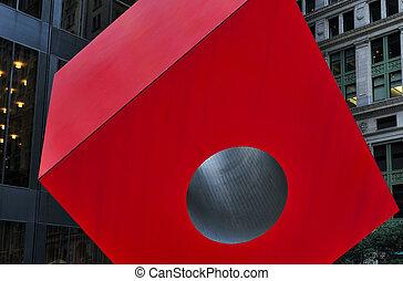 Travel Photos of New York - Manhattan - Red Steel Sculpture...