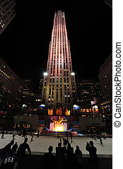 Travel Photos of New York - Manhattan - People ice skate at...