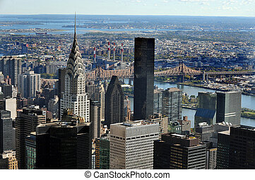 Travel Photos of New York - Manhattan - Aerial view of the...