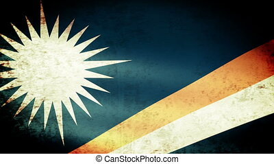 Marshall Islands Flag Waving, grunge look