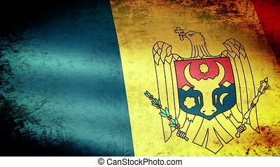 Moldova Flag Waving, grunge look